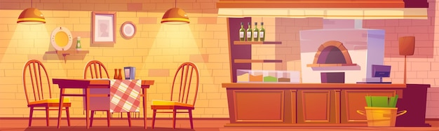 Pizzeria of gezellig familiecafé-interieur met oven voor pizza, kassabureau, houten tafels en stoelen in rustieke stijl.