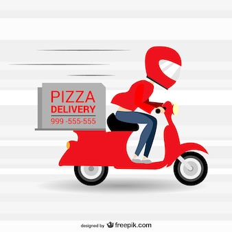 Pizzeria snelle levering vector cartoon