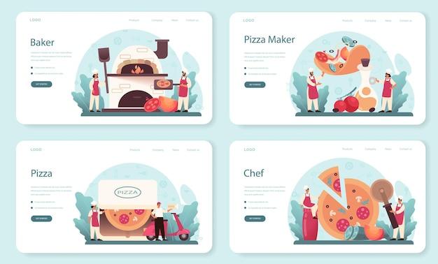 Pizzeria webbanner of bestemmingspagina-set. chef-kok die smakelijke heerlijke pizza kookt. italiaans eten. salami en mozarellakaas, plakje tomaat.
