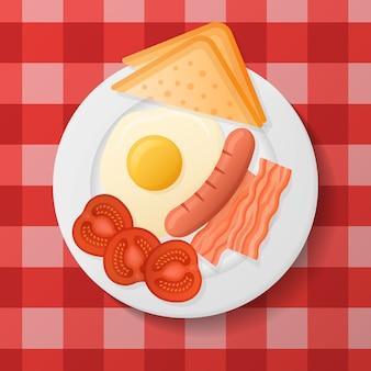 Plaat met gebakken ei, spek, gegrilde worst, tomaat en toast. engels ontbijt.