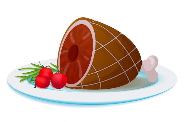 Plaat met gegrild vlees en groenten
