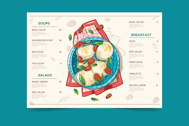 Plaat met gezonde voeding restaurant menu