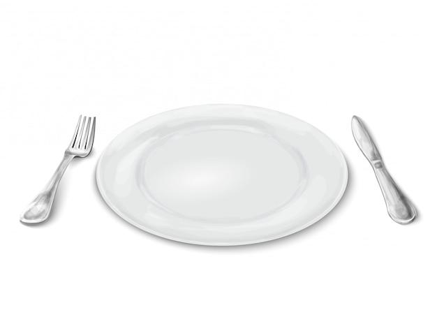 Plaat met mes en vork