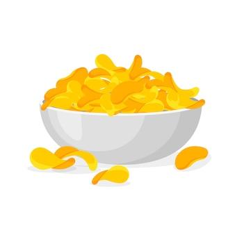 Plaat van chips in trendy cartoon-stijl. stapel chips in een kom geïsoleerd op een witte achtergrond.