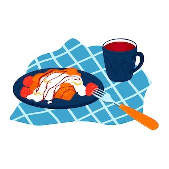Plaat zelfgemaakte pannenkoek met crème yoghurt saus, smakelijke beignet framboos vulling geïsoleerd op wit, cartoon illustratie.
