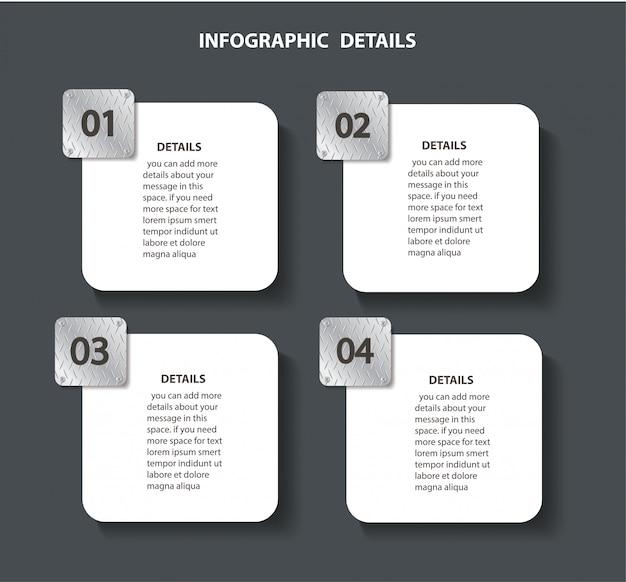 Plaatmetaal info grafische sjabloon met 4 opties