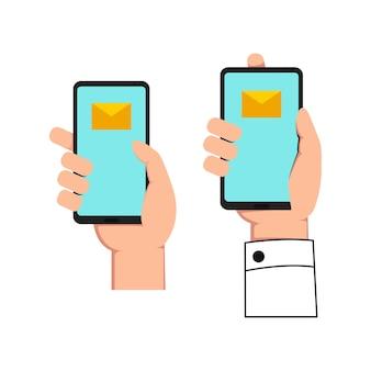 Plaats een handje met gadget-telefoon