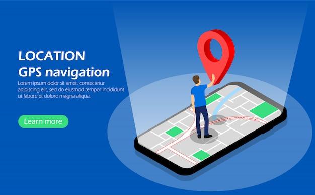Plaats. gps navigatie. karakter op telefoon