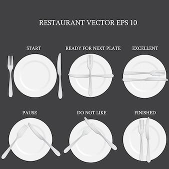 Plaats het instellen met plaat, mes en vork