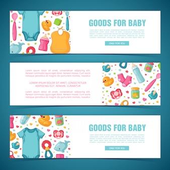 Plaats horizontale banners met patronen uit de kindertijd. pasgeboren personeel voor het versieren van flyers. ontwerpsjablonen voor kaart, uitnodiging met kleding, speelgoed, accessoires voor babydouche. .