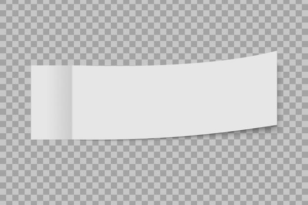 Plaats nota kleverige die sticker met schil van hoek op een transparante achtergrond wordt geïsoleerd