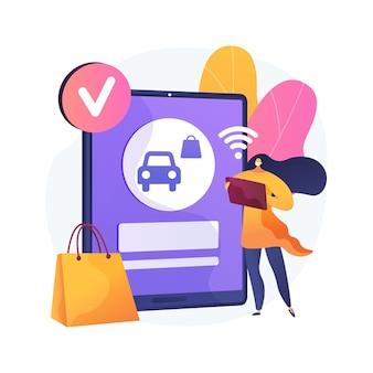 Plaats uw ophaalbestelling online abstracte concept illustratie. veilig afhalen van boodschappen, quickservice klant, sociale afstand, contactloos afhalen, bestelling vooruit betalen