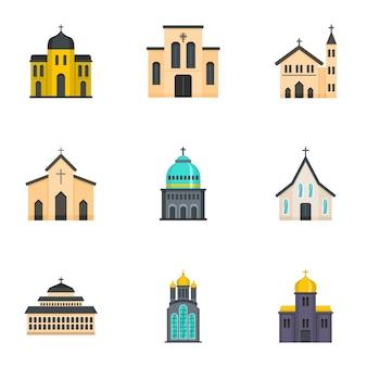 Plaats van aanbidding iconen set, cartoon stijl