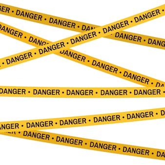 Plaats van misdaad gele tape, politie lijn overschrijden geen tape. cartoon vlakke stijl. Premium Vector