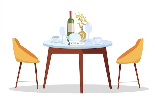 Plaats voor romantische date. gereserveerd teken op tafel in restaurant. gereserveerde tabel concept
