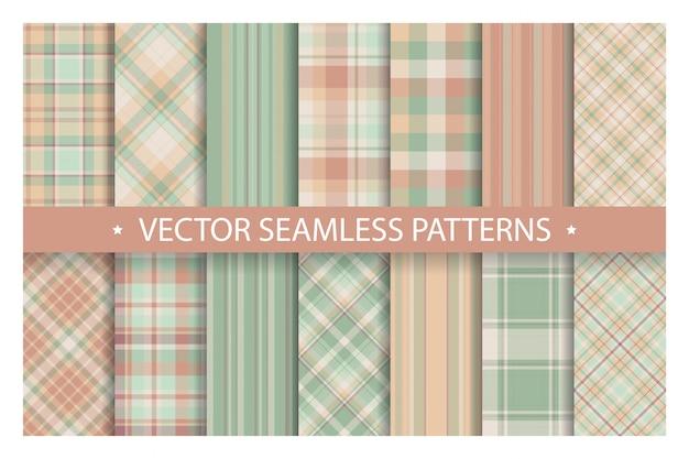 Plaid naadloos patroon instellen. tartan patronen stof textuur.