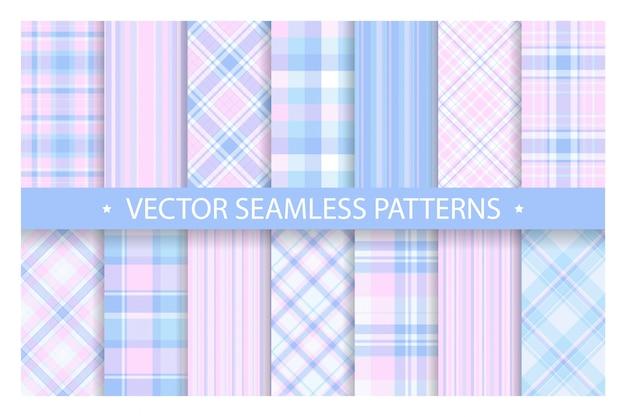 Plaid patroon naadloos instellen. tartan patronen stof textuur. geruit geometrisch patroon.