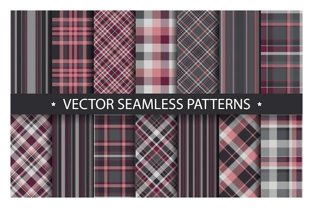 Plaid patroon naadloos instellen. tartan patronen stof textuur. geruite geometrische achtergrond. schotse streep deken achtergrond