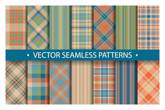 Plaid patroon naadloos instellen. tartan patronen stof textuur.