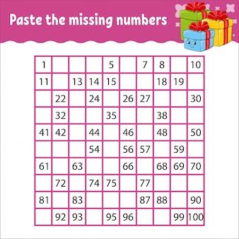 Plak de ontbrekende getallen van 1 tot 100. handschrift oefenen. getallen leren voor kinderen.