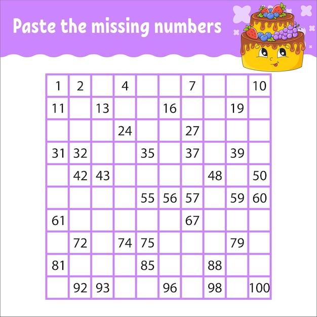 Plak de ontbrekende getallen van 1 tot 100 handschriftoefening