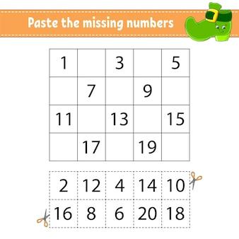 Plak de ontbrekende nummers 1-20. spel voor kinderen.