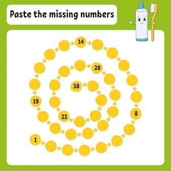 Plak de ontbrekende nummers. handschrift praktijk. getallen leren voor kinderen.