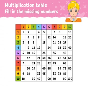 Plak de ontbrekende nummers. leren tafel van vermenigvuldiging. handschrift praktijk.
