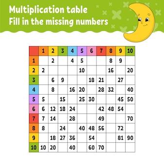 Plak de ontbrekende nummers. tafel van vermenigvuldiging leren. handschrift oefenen.