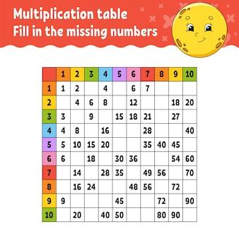 Plak de ontbrekende nummers. tafel van vermenigvuldiging leren.