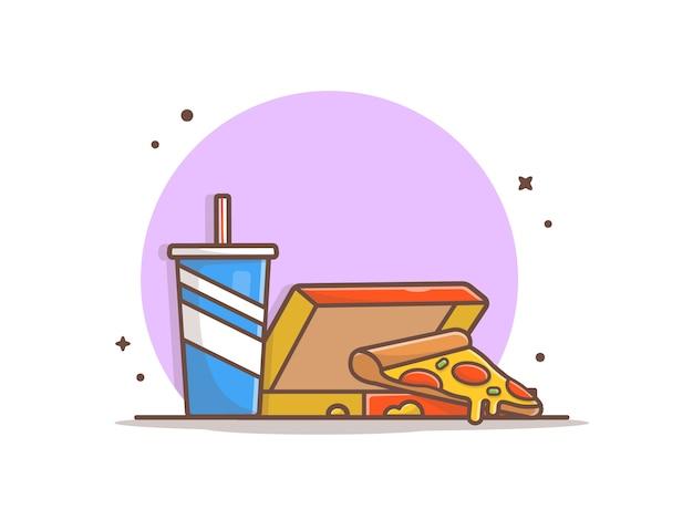 Plak van pizza in doos met sodaillustratie