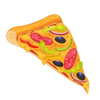Plak van pizza met pepperoni en groenten