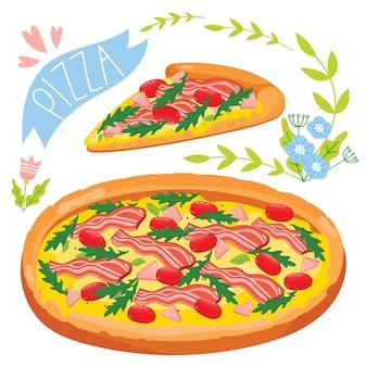 Plak van pizza op witte achtergrond wordt geïsoleerd die