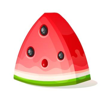 Plak watermeloen. fruit illustratie voor farm market menu. gezond eten