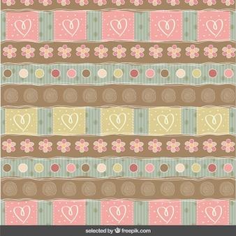 Plakboek patroon met bloemen en harten