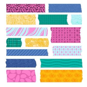 Plakboek tape. randen met kleurpatronen, decoratieve plakband. papieren scotch-stroken, kleurrijke prints van stoffenlabels