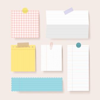 Plakboekpapieren. lege kladblok pagina's illustratie. papier met tape aan de muur geplakt