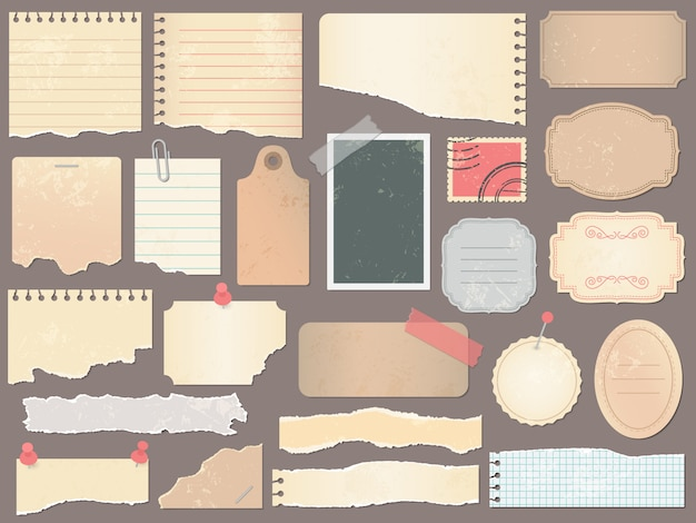 Plakboekpapieren. vintage scrapbooking papier, retro kladjes pagina's en oude antieke albumpapier textuur illustratie