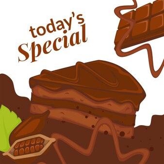 Plakje chocoladetaart en cacaotopping, de specialiteit van vandaag in bistro of bakkerij. heerlijk koekje voor ontbijt of lunch. promotionele banner of poster, café of restaurant kortingen. vector in plat
