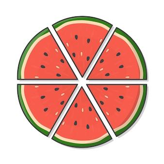 Plakje watermeloen fruit pictogram illustratie. verse watermeloenen platte pictogram