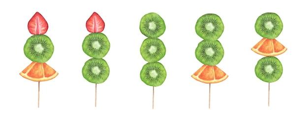 Plakjes aardbei, kiwi en sinaasappel op een houten stokje. aquarel illustratie