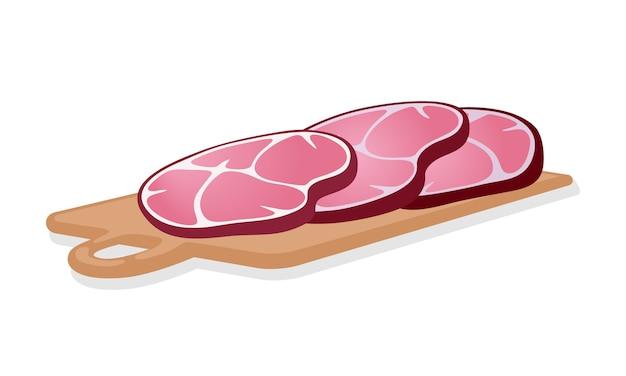 Plakjes gerookte rode ham zijn op houten snijplank