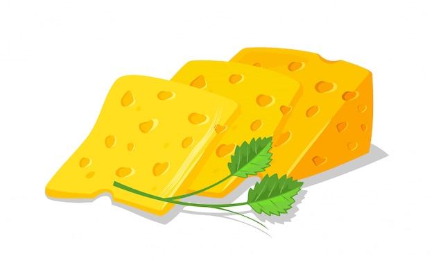 Plakjes heerlijke zwitserse of nederlandse gele poreuze kaas voor toast, sandwiches gegarneerd met groen. smakelijk ontbijt, snack. cartoon realistische illustratie op witte achtergrond.