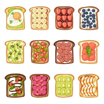 Plakjes toast met boter jamflat cartoon stijl vectorillustratie.