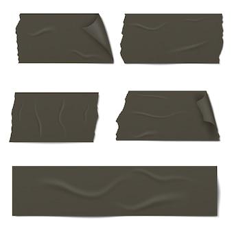 Plakjes van een zwarte plakband