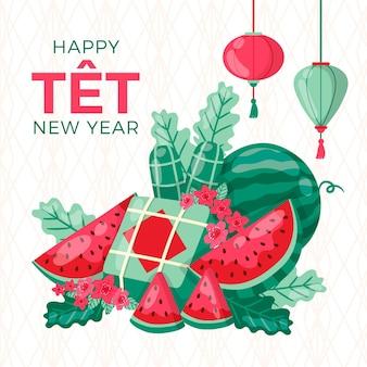 Plakjes watermeloen gelukkig vietnamees nieuwjaar 2021