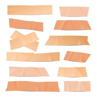 Plakkerige patch of gipselementen instellen. gelijmd stukje elastische tape, grunge iconen van scotch of sticker