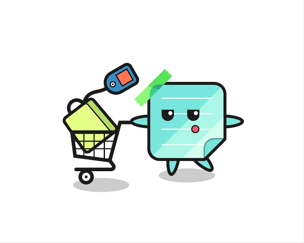 Plaknotities illustratie cartoon met een winkelwagentje, schattig stijlontwerp voor t-shirt, sticker, logo-element