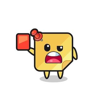 Plaknotities schattige mascotte als scheidsrechter die een rode kaart geeft, schattig stijlontwerp voor t-shirt, sticker, logo-element