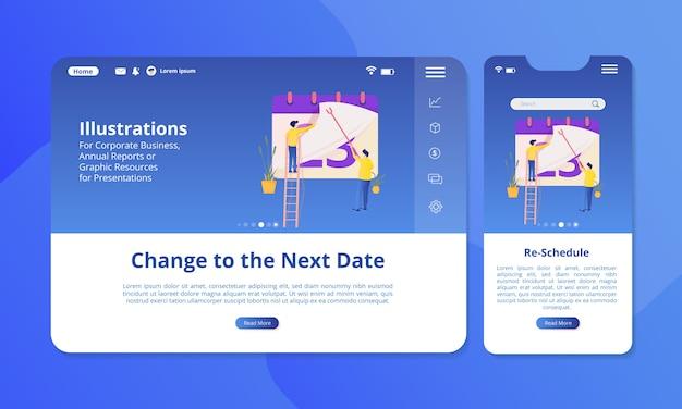 Plan de illustratie op het scherm opnieuw voor web- of mobiele weergave.